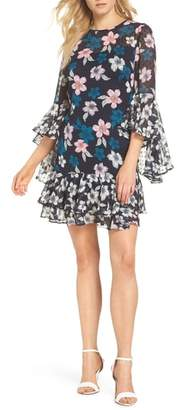 Eliza J Flounce Bell Sleeve Floral Fil Coupe Chiffon Shift Dress