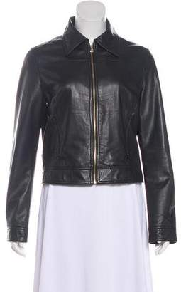 L'Agence Leather Zip-Up Jacket
