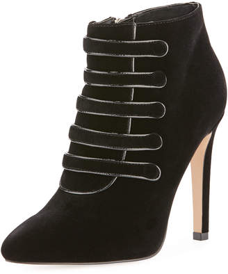 Neiman Marcus Morris Velvet High Booties, Black
