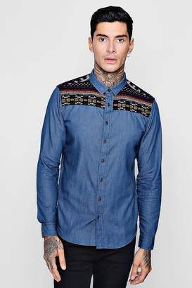 boohoo Long Sleeve Denim Shirt With Aztec Embroiderey