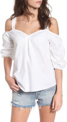 Women's Socialite Bubble Sleeve Cold Shoulder Top $39 thestylecure.com