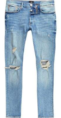 River Island Mid blue ripped Sid skinny jeans