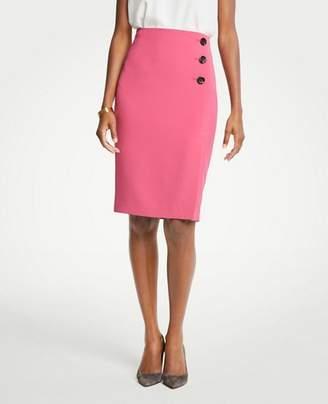 Ann Taylor Doubleweave Side Button Pencil Skirt