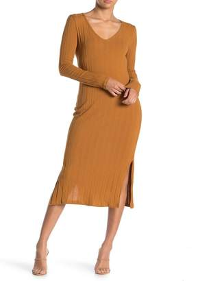 Lush Long Sleeve Ribbed Knit Midi Dress