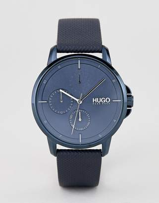 HUGO 1530033 Focus blue dial leather strap watch in blue