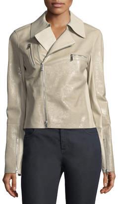 Lafayette 148 New York Bevin Checker Glass Leather Biker Jacket