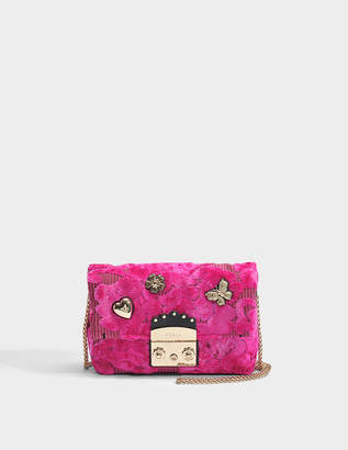 Furla Metropolis Nuvola Mini Crossbody Bag in Fuchsia Canvas