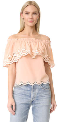 Ramy Brook Kira Embroidered Off Shoulder Top $345 thestylecure.com