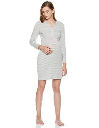 StarMomee Women's Comfy Cotton Maternity Nursing Dress Loose Fit Long Sleeve Breastfeeding Dress (