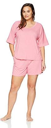 Arabella Women's Plus Size Boxy Tee And Short Pajama Set