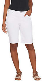 Susan Graver Stretch Slub Twill Bermuda Shorts- White