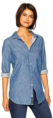 Lucky Brand Women's Denim Polka DOT Boyfriend Shirt