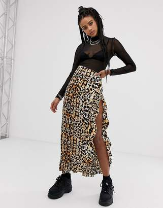 Sacred Hawk sacred hawk satin maxi skirt with thigh split in leopard