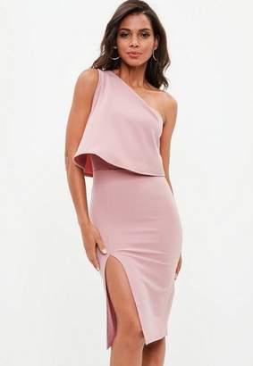 Missguided Rose Pink One Shoulder Crepe Overlay Split Midi Dress, Mauve
