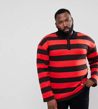 Asos Sixth June Rugby Polo Shirt In Black With Red Stripes exclusive to