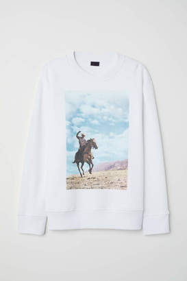 H&M Sweatshirt with Printed Design - White - Men
