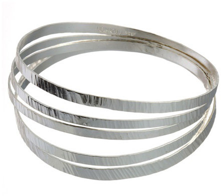 Rebecca Norman Flat Hammered Silver Bangle Set
