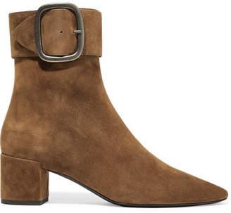 Saint Laurent Joplin Suede Ankle Boots - Camel