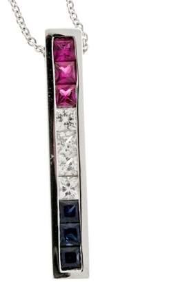 14K White Gold with Patriotic Red Ruby, White & Blue Sapphire Channel Pendant Necklace