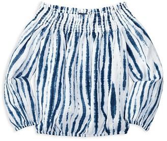 Ralph Lauren Childrenswear Girls' Shibori Tie Dye Off the Shoulder Top - Big Kid $59.50 thestylecure.com
