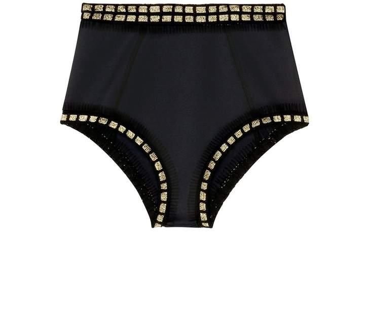 'ChaCha' metallic crochet trim high waist bikini bottoms