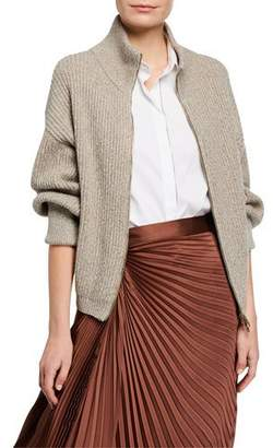 Brunello Cucinelli Shimmer Wool-Cashmere Zip-Front Sweater