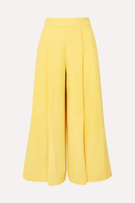 Emilia Wickstead Pleated Wool-crepe Wide-leg Pants - Yellow