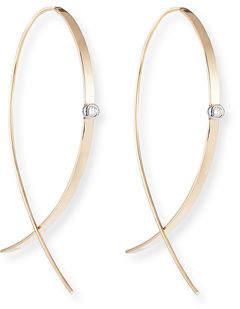 Lana Small Flat Diamond Hoop Earrings