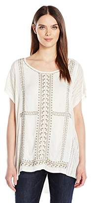 Lucky Brand Women's Embroidered Poncho Sweater