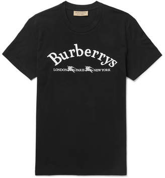 Burberry Slim-Fit Logo-Embroidered Cotton-Jersey T-Shirt