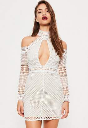 Missguided White Lace Cold Shoulder Bodycon Dress