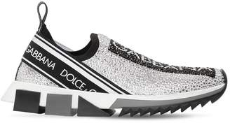Dolce & Gabbana 30mm Logo Embellished Knit Sneakers