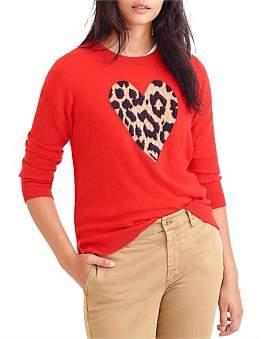 J.Crew Leopard Heart Layla Cashmere Crew Sweater