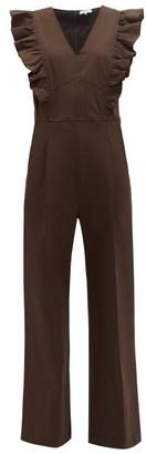 Sea Stevie Ruffled Cotton Blend Jumpsuit - Womens - Brown