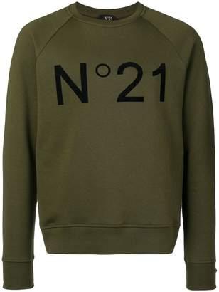 No.21 contrast logo sweatshirt