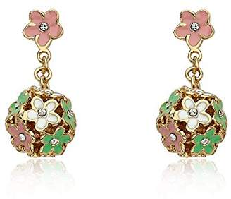 Little Miss Twin Stars 14k Gold-Plated colored Enamel and Cubic Zirconia Flowers Cluster Earring