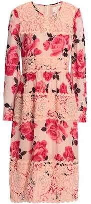 Kate Spade Paneled Guipure Lace And Floral-Print Georgette Dress