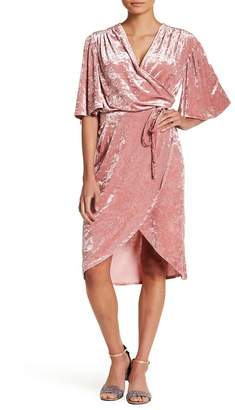 Alexia Admor Flutter Sleeve Velvet Wrap Dress