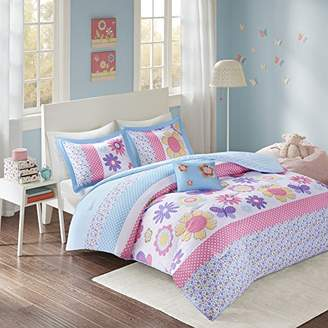 Comfort Spaces - Happy Daisy Kid Comforter Set - 3 Piece - Butterfly & Floral - Blue Pink - Twin/Twin XL Size