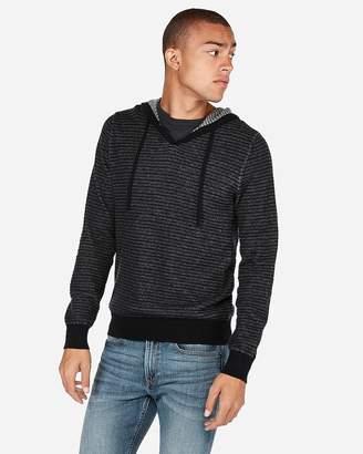 Express Stripe V-Neck Hooded Sweater