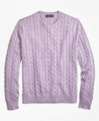 Brooks Brothers Supima Cotton Cable Crewneck Sweater