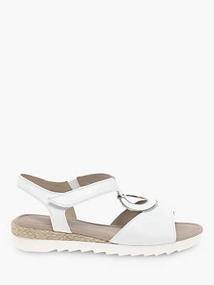 Gabor Ellis Wide Fit Low Wedge Sandals, White