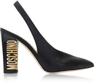 Moschino Gold Tone Logo Heel Black Leather Slingback Pumps