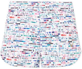 Lucas Hugh Glitch Printed Stretch Shorts - White