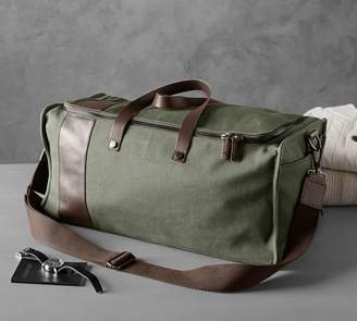 Pottery Barn Bradley Leather & Canvas Weekender - Brown/Olive