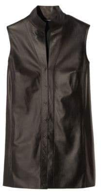 Akris Nappa Leather Sleeveless Blouse
