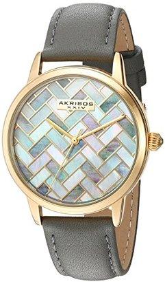 Akribos XXIV Women 'sシルバートーンマザーオブパールMosaic Dial withブルーグローブスタイル本革ストラップ腕時計ak906bu