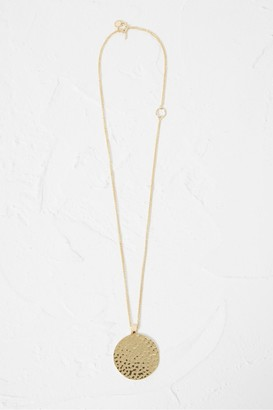 French Connenction Hammered Disc Pendant Necklace
