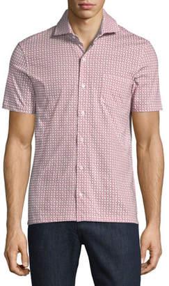 Isaia Geometric-Print Short-Sleeve Sport Shirt