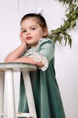 Luli & Me Green-Velvet Pleat-Dress & Ivory-Lace